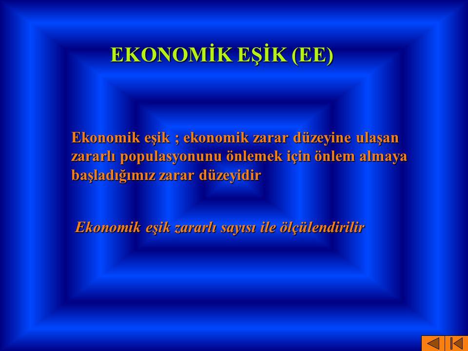 EKONOMİK EŞİK (EE) Ekonomik eşik ; ekonomik zarar düzeyine ulaşan zararlı populasyonunu önlemek için önlem almaya başladığımız zarar düzeyidir Ekonomi