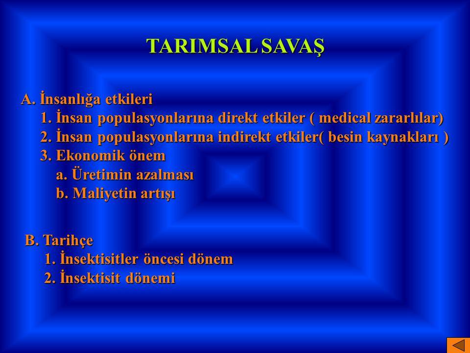 TARIMSAL SAVAŞ A. İnsanlığa etkileri 1. İnsan populasyonlarına direkt etkiler ( medical zararlılar) 1. İnsan populasyonlarına direkt etkiler ( medical