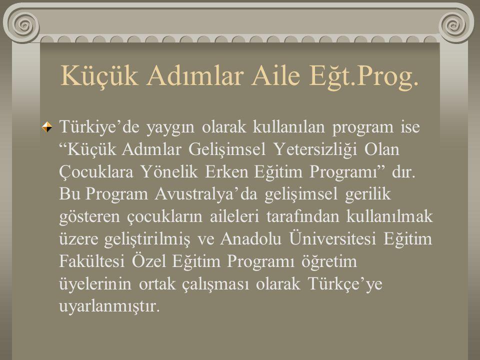 """Küçük Adımlar Aile Eğt.Prog. Türkiye'de yaygın olarak kullanılan program ise """"Küçük Adımlar Gelişimsel Yetersizliği Olan Çocuklara Yönelik Erken Eğiti"""