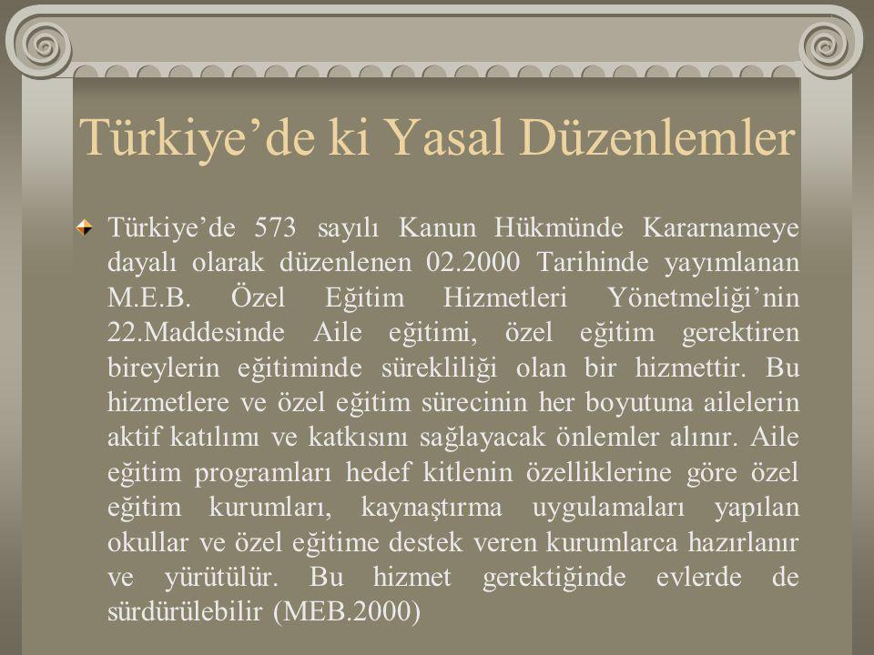 Türkiye'de ki Yasal Düzenlemler Türkiye'de 573 sayılı Kanun Hükmünde Kararnameye dayalı olarak düzenlenen 02.2000 Tarihinde yayımlanan M.E.B. Özel Eği