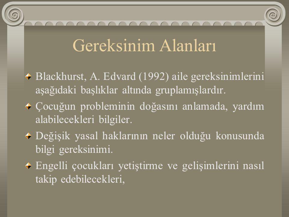 Gereksinim Alanları Blackhurst, A. Edvard (1992) aile gereksinimlerini aşağıdaki başlıklar altında gruplamışlardır. Çocuğun probleminin doğasını anlam