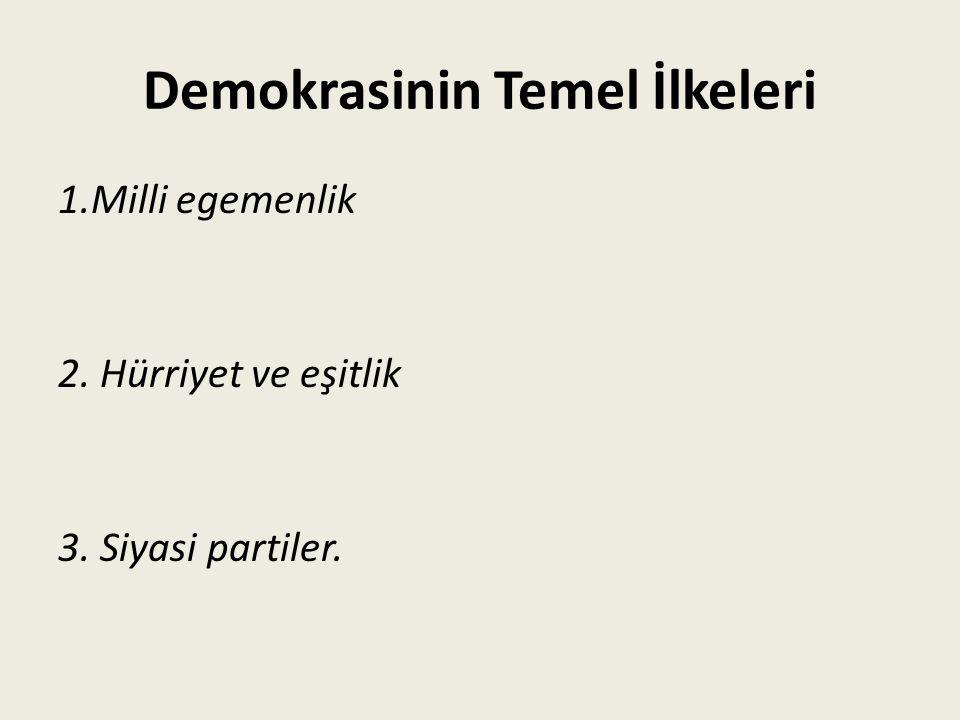 Demokrasinin Temel İlkeleri 1.Milli egemenlik 2. Hürriyet ve eşitlik 3. Siyasi partiler.
