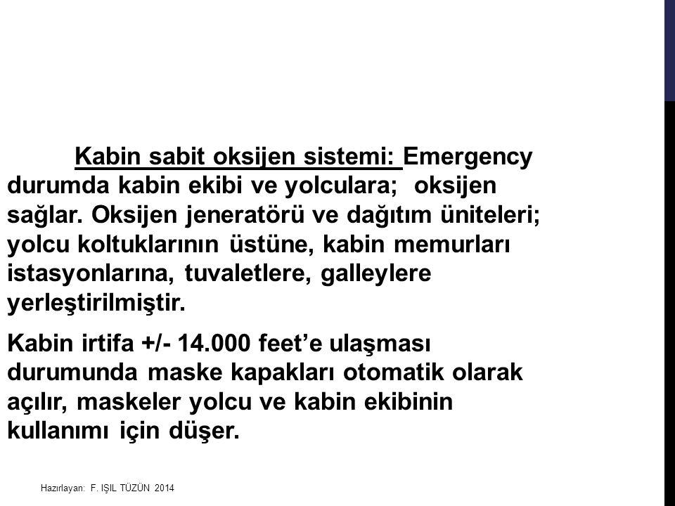 Kabin sabit oksijen sistemi: Emergency durumda kabin ekibi ve yolculara; oksijen sağlar. Oksijen jeneratörü ve dağıtım üniteleri; yolcu koltuklarının