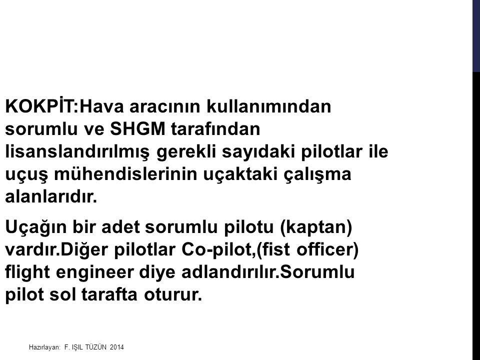 Hazırlayan: F. IŞIL TÜZÜN 2014 KOKPİT:Hava aracının kullanımından sorumlu ve SHGM tarafından lisanslandırılmış gerekli sayıdaki pilotlar ile uçuş mühe