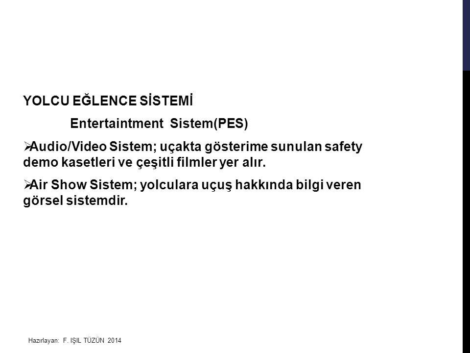 Hazırlayan: F. IŞIL TÜZÜN 2014 YOLCU EĞLENCE SİSTEMİ Entertaintment Sistem(PES)  Audio/Video Sistem; uçakta gösterime sunulan safety demo kasetleri v