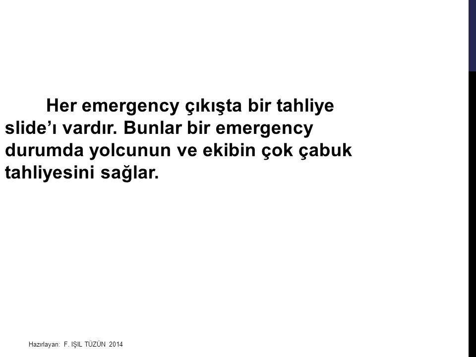 Hazırlayan: F. IŞIL TÜZÜN 2014 Her emergency çıkışta bir tahliye slide'ı vardır. Bunlar bir emergency durumda yolcunun ve ekibin çok çabuk tahliyesini