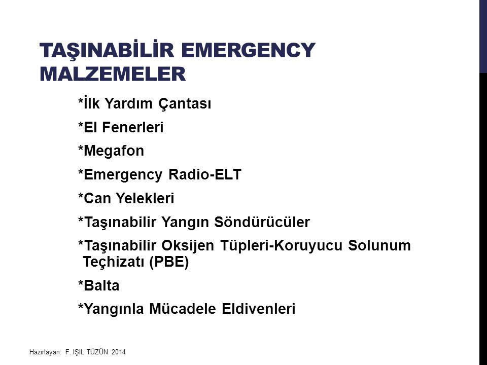 TAŞINABİLİR EMERGENCY MALZEMELER *İlk Yardım Çantası *El Fenerleri *Megafon *Emergency Radio-ELT *Can Yelekleri *Taşınabilir Yangın Söndürücüler *Taşı