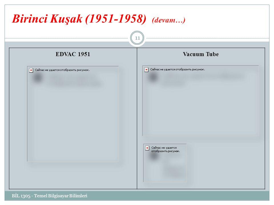Birinci Kuşak (1951-1958) (devam…) EDVAC 1951Vacuum Tube BİL 1305 - Temel Bilgisayar Bilimleri 11
