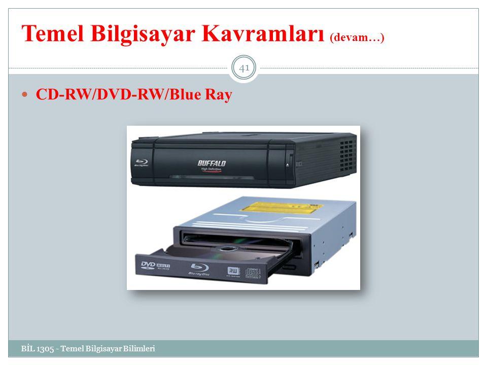 Temel Bilgisayar Kavramları (devam…) BİL 1305 - Temel Bilgisayar Bilimleri 41 CD-RW/DVD-RW/Blue Ray