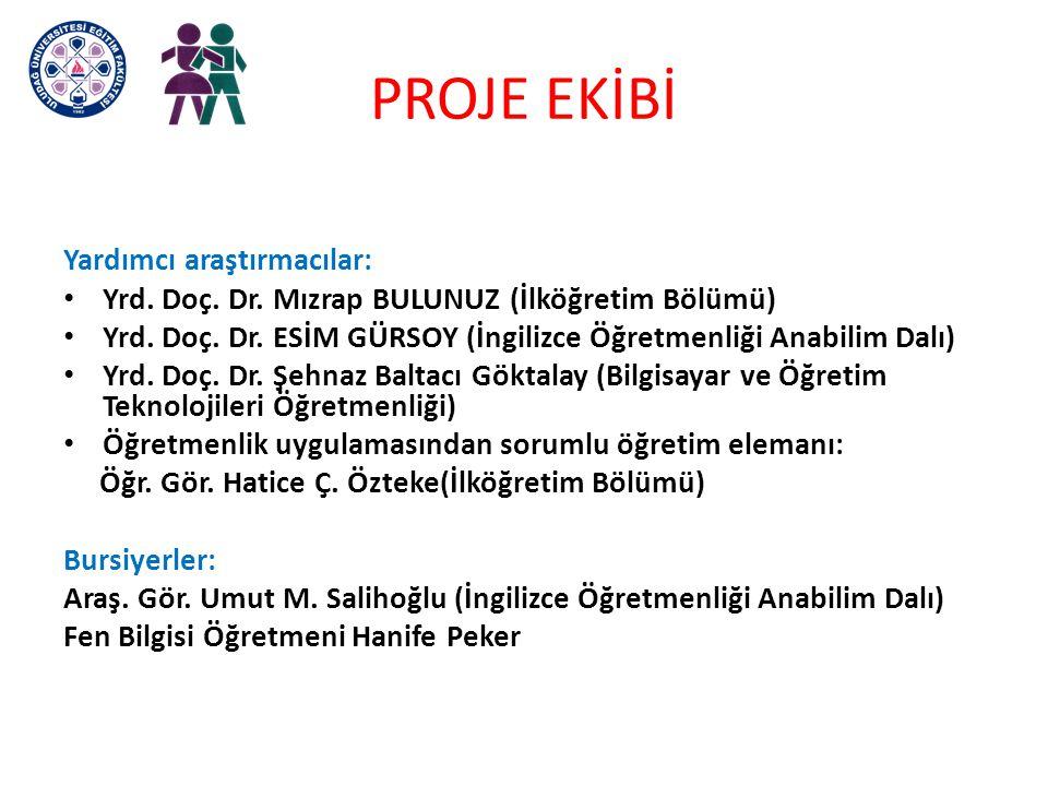 PROJE EKİBİ Yardımcı araştırmacılar: Yrd. Doç. Dr. Mızrap BULUNUZ (İlköğretim Bölümü) Yrd. Doç. Dr. ESİM GÜRSOY (İngilizce Öğretmenliği Anabilim Dalı)