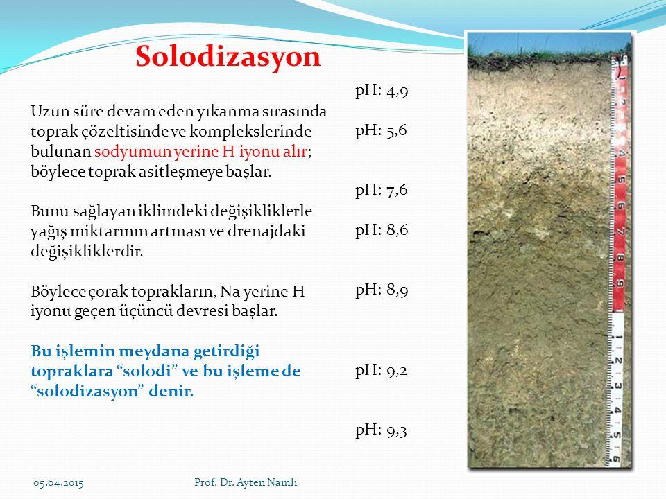Solodizasyon pH: 4,9 pH: 5,6 pH: 7,6 pH: 8,6 pH: 8,9 pH: 9,2 pH: 9,3 Uzun süre devam eden yıkanma sırasında toprak çözeltisinde ve komplekslerinde bul