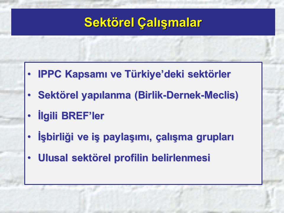 Sektörel Çalışmalar IPPC Kapsamı ve Türkiye'deki sektörlerIPPC Kapsamı ve Türkiye'deki sektörler Sektörel yapılanma (Birlik-Dernek-Meclis)Sektörel yap