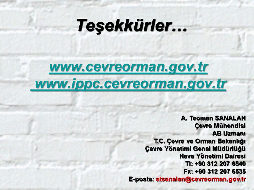 www.cevreorman.gov.tr www.ippc.cevreorman.gov.tr www.cevreorman.gov.tr www.ippc.cevreorman.gov.trTeşekkürler… A. Teoman SANALAN Çevre Mühendisi AB Uzm