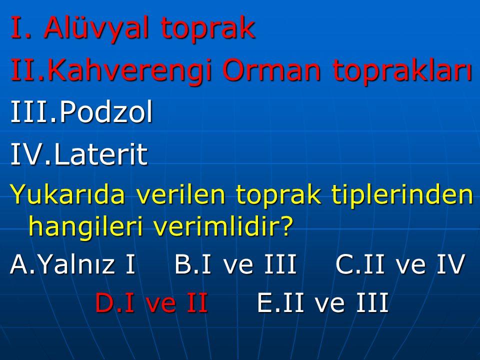 I. Alüvyal toprak II.Kahverengi Orman toprakları III.PodzolIV.Laterit Yukarıda verilen toprak tiplerinden hangileri verimlidir? A.Yalnız I B.I ve III