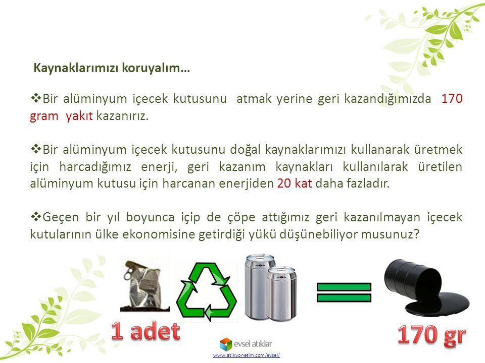 www.atikyonetim.com/evsel/ Kaynaklarımızı koruyalım…  Bir alüminyum içecek kutusunu atmak yerine geri kazandığımızda 170 gram yakıt kazanırız.  Bir