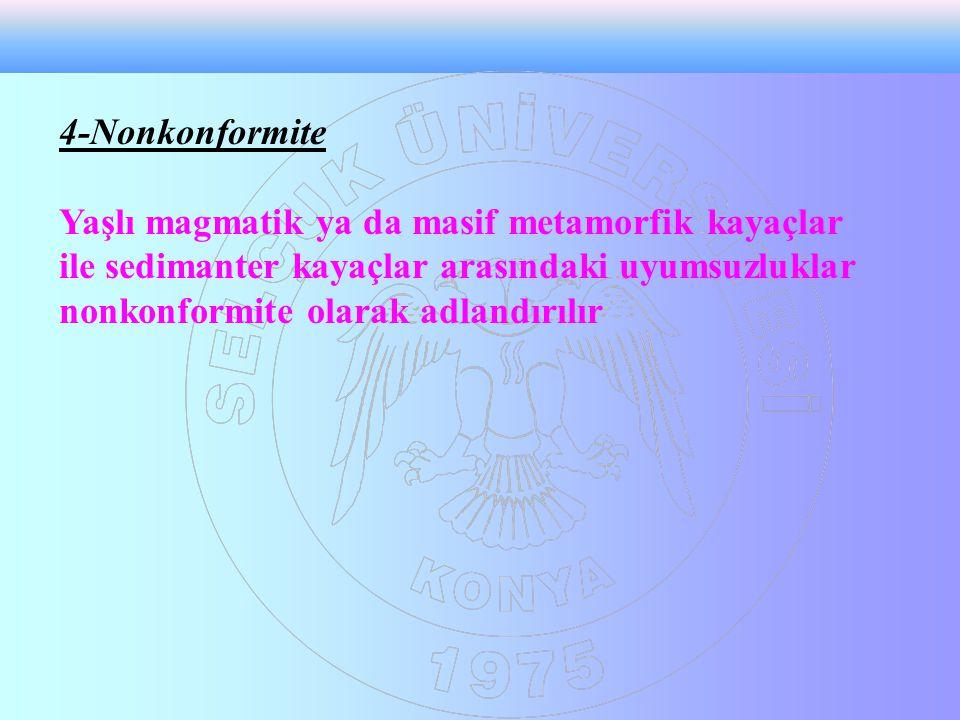 4-Nonkonformite Yaşlı magmatik ya da masif metamorfik kayaçlar ile sedimanter kayaçlar arasındaki uyumsuzluklar nonkonformite olarak adlandırılır