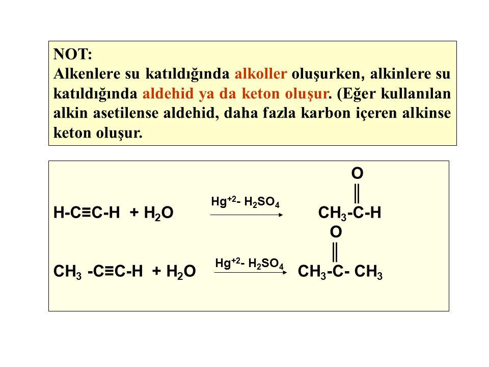 NOT: Alkenlere su katıldığında alkoller oluşurken, alkinlere su katıldığında aldehid ya da keton oluşur. (Eğer kullanılan alkin asetilense aldehid, da