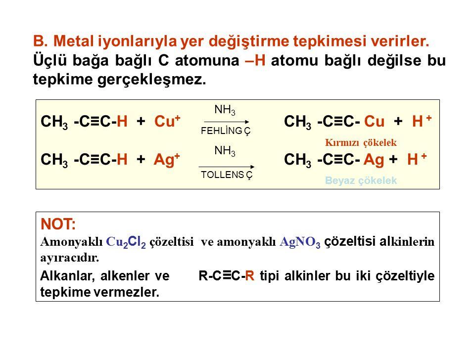 NOT: Amonyaklı Cu 2 Cl 2 çözeltisi ve amonyaklı AgNO 3 çözeltisi al kinlerin ayıracıdır. Alkanlar, alkenler ve R-C ≡ C-R tipi alkinler bu iki çözeltiy