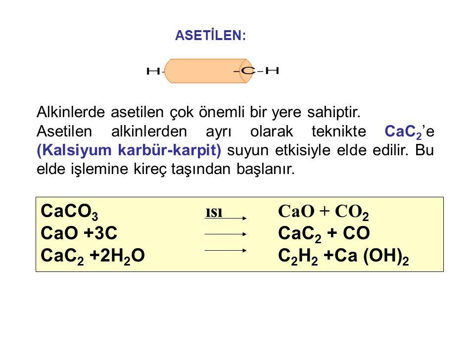 Alkinlerde asetilen çok önemli bir yere sahiptir. Asetilen alkinlerden ayrı olarak teknikte CaC 2 'e (Kalsiyum karbür-karpit) suyun etkisiyle elde edi
