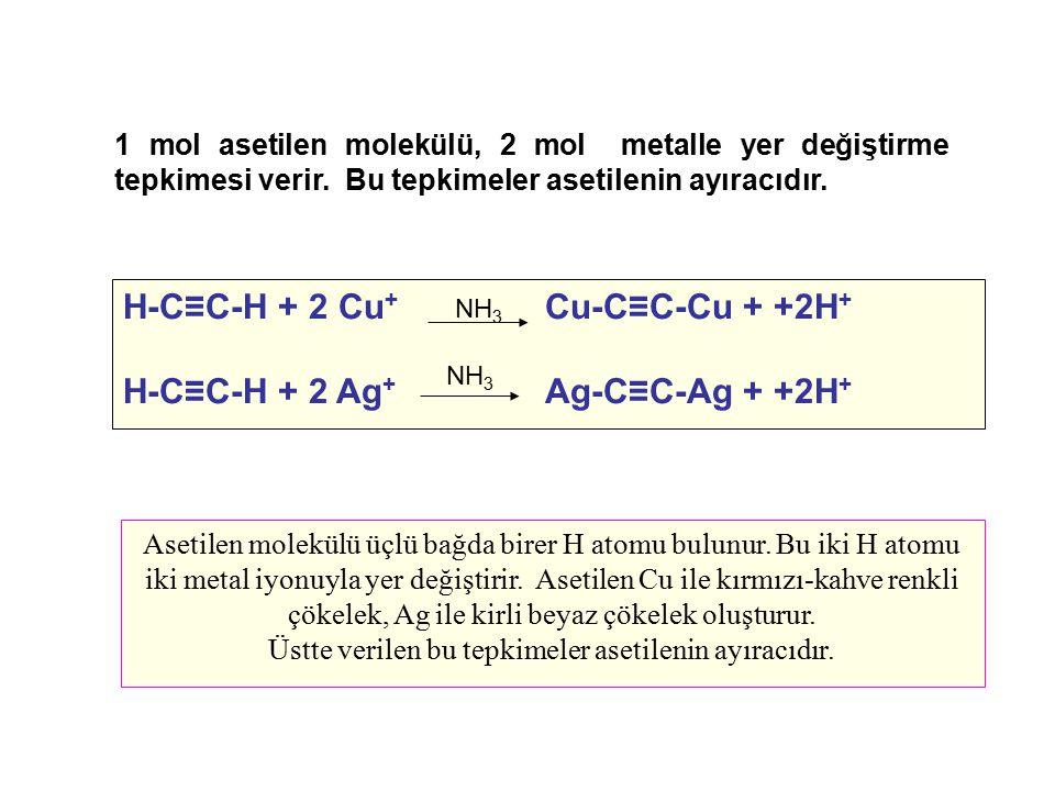 1 mol asetilen molekülü, 2 mol metalle yer değiştirme tepkimesi verir. Bu tepkimeler asetilenin ayıracıdır. Asetilen molekülü üçlü bağda birer H atomu