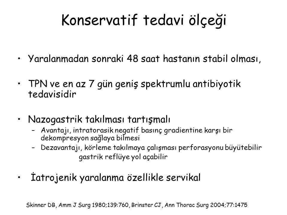 Konservatif tedavi ölçeği Yaralanmadan sonraki 48 saat hastanın stabil olması, TPN ve en az 7 gün geniş spektrumlu antibiyotik tedavisidir Nazogastrik