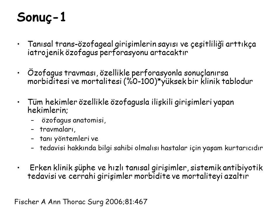 Sonuç-1 Tanısal trans-özofageal girişimlerin sayısı ve çeşitliliği arttıkça iatrojenik özofagus perforasyonu artacaktır Özofagus travması, özellikle p