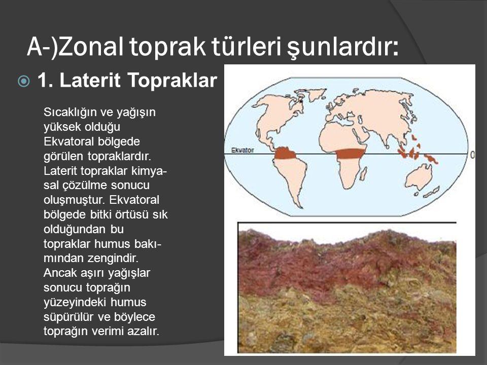 A-)Zonal toprak türleri şunlardır:  1. Laterit Topraklar Sıcaklığın ve yağışın yüksek olduğu Ekvatoral bölgede görülen topraklardır. Laterit toprakla