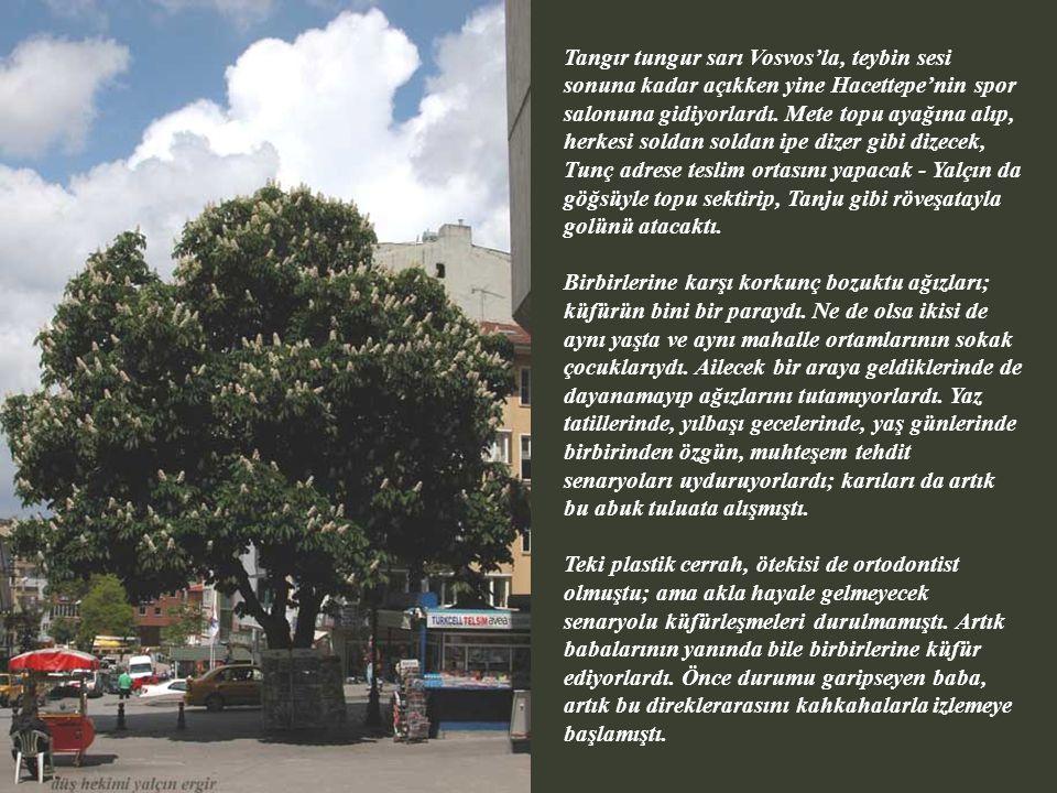 Tangır tungur sarı Vosvos'la, teybin sesi sonuna kadar açıkken yine Hacettepe'nin spor salonuna gidiyorlardı.