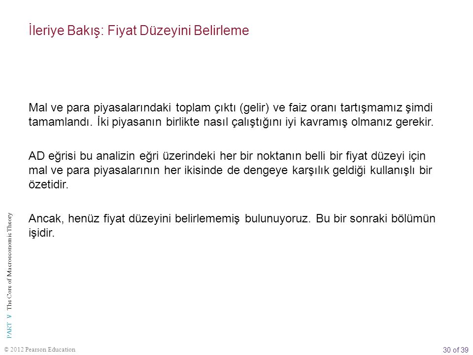 30 of 39 PART V The Core of Macroeconomic Theory © 2012 Pearson Education İleriye Bakış: Fiyat Düzeyini Belirleme Mal ve para piyasalarındaki toplam ç