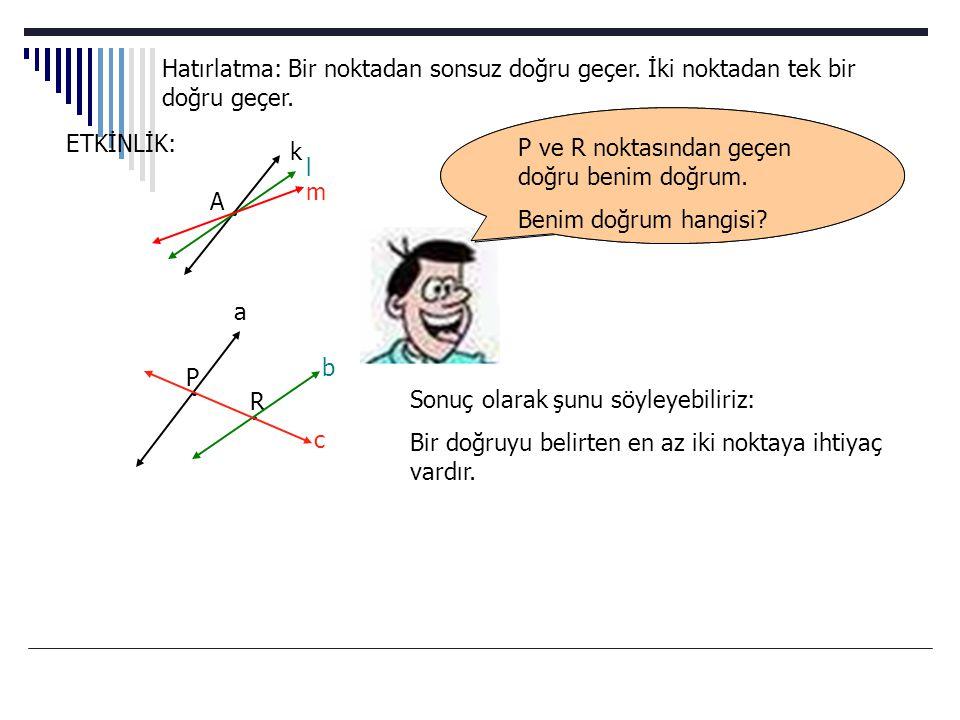 Doğrusal denklemlerin grafiklerini çizerken şu sloganı tekrar etmekte yarar vardır.