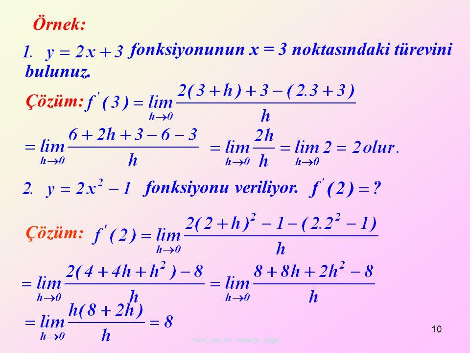 Yard. Doç. Dr. Mustafa Akkol 10 Örnek: Çözüm: fonksiyonunun x = 3 noktasındaki türevini bulunuz. fonksiyonu veriliyor.