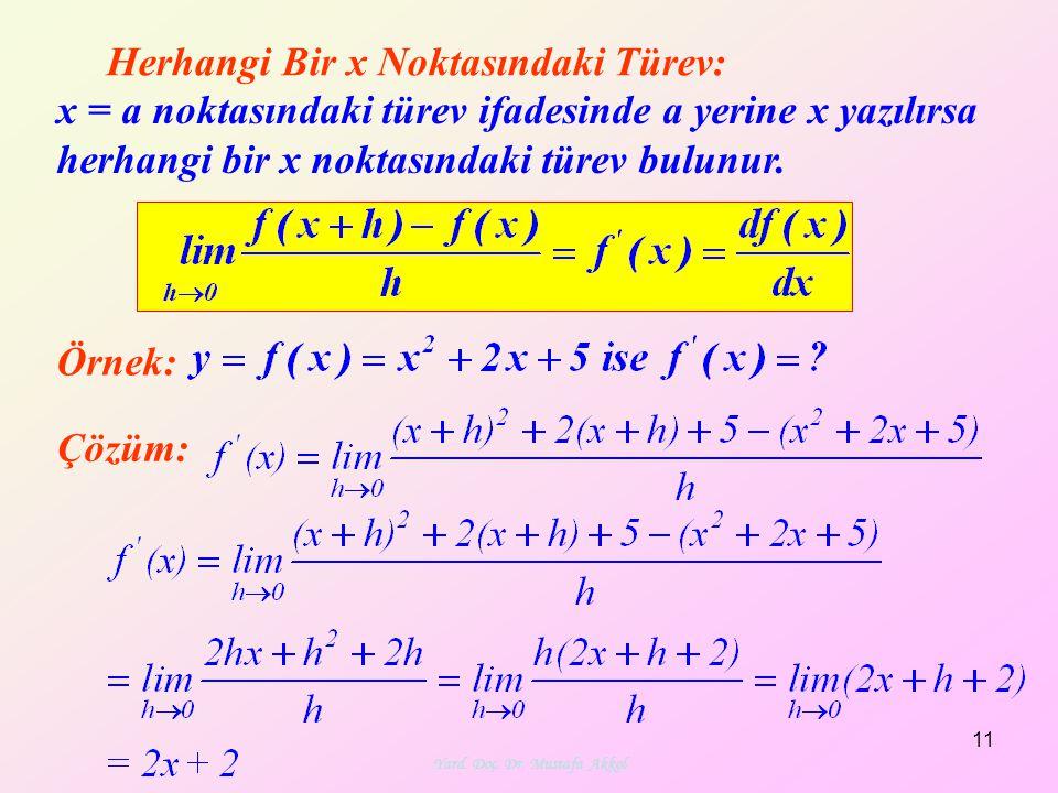 Yard. Doç. Dr. Mustafa Akkol 11 Herhangi Bir x Noktasındaki Türev: Örnek: Çözüm: x = a noktasındaki türev ifadesinde a yerine x yazılırsa herhangi bir
