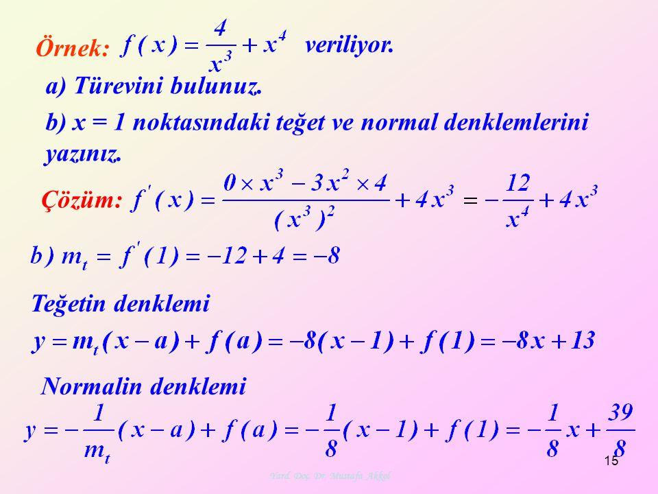 Yard. Doç. Dr. Mustafa Akkol 15 Örnek: Çözüm: veriliyor. a) Türevini bulunuz. b) x = 1 noktasındaki teğet ve normal denklemlerini yazınız. Teğetin den
