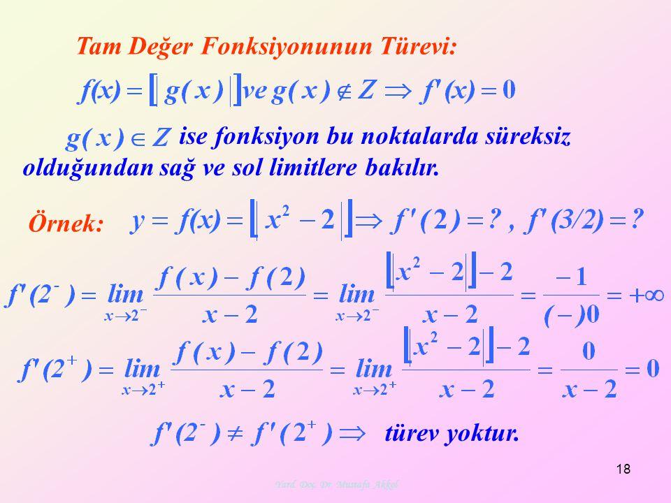 Yard. Doç. Dr. Mustafa Akkol 18 Tam Değer Fonksiyonunun Türevi: Örnek: ise fonksiyon bu noktalarda süreksiz olduğundan sağ ve sol limitlere bakılır. t