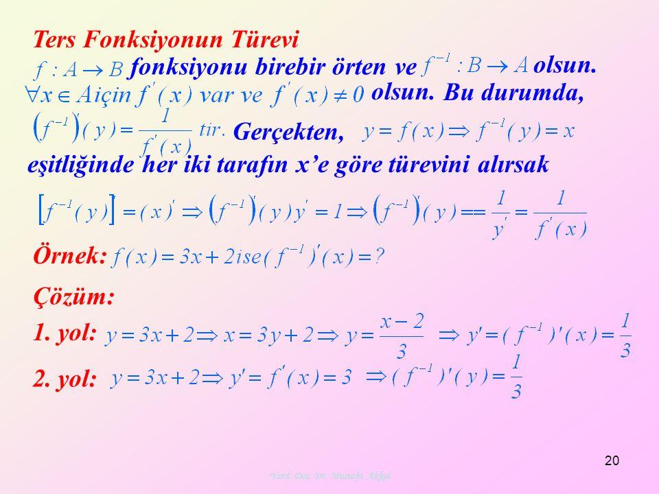Yard. Doç. Dr. Mustafa Akkol 20 Ters Fonksiyonun Türevi fonksiyonu birebir örten ve olsun. Bu durumda, Gerçekten, eşitliğinde her iki tarafın x'e göre