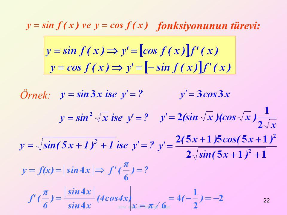 Yard. Doç. Dr. Mustafa Akkol 22 fonksiyonunun türevi: Örnek: