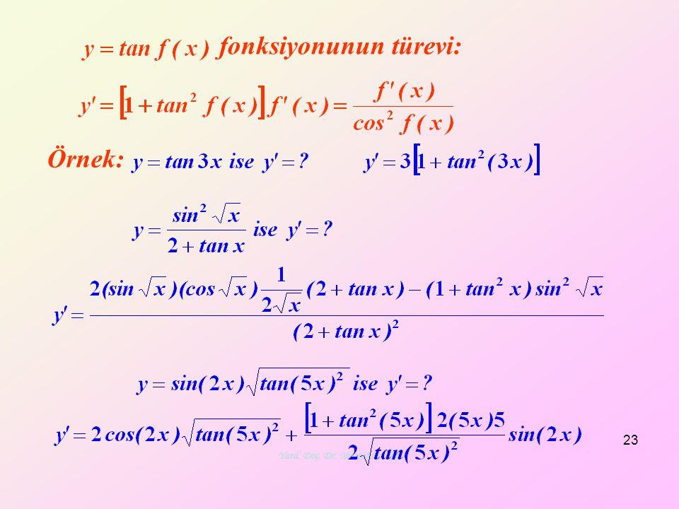 Yard. Doç. Dr. Mustafa Akkol 23 Örnek: fonksiyonunun türevi: