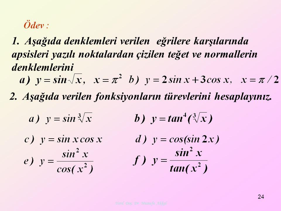 Yard. Doç. Dr. Mustafa Akkol 24 1. Aşağıda denklemleri verilen eğrilere karşılarında apsisleri yazılı noktalardan çizilen teğet ve normallerin denklem