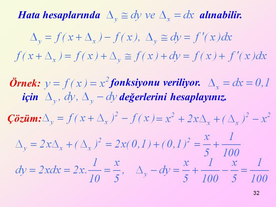 32 Hata hesaplarında alınabilir. Örnek: fonksiyonu veriliyor. içindeğerlerini hesaplayınız. Çözüm: