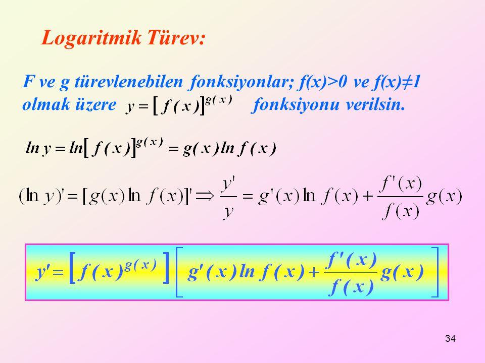 Logaritmik Türev: F ve g türevlenebilen fonksiyonlar; f(x)>0 ve f(x)≠1 olmak üzere fonksiyonu verilsin. 34