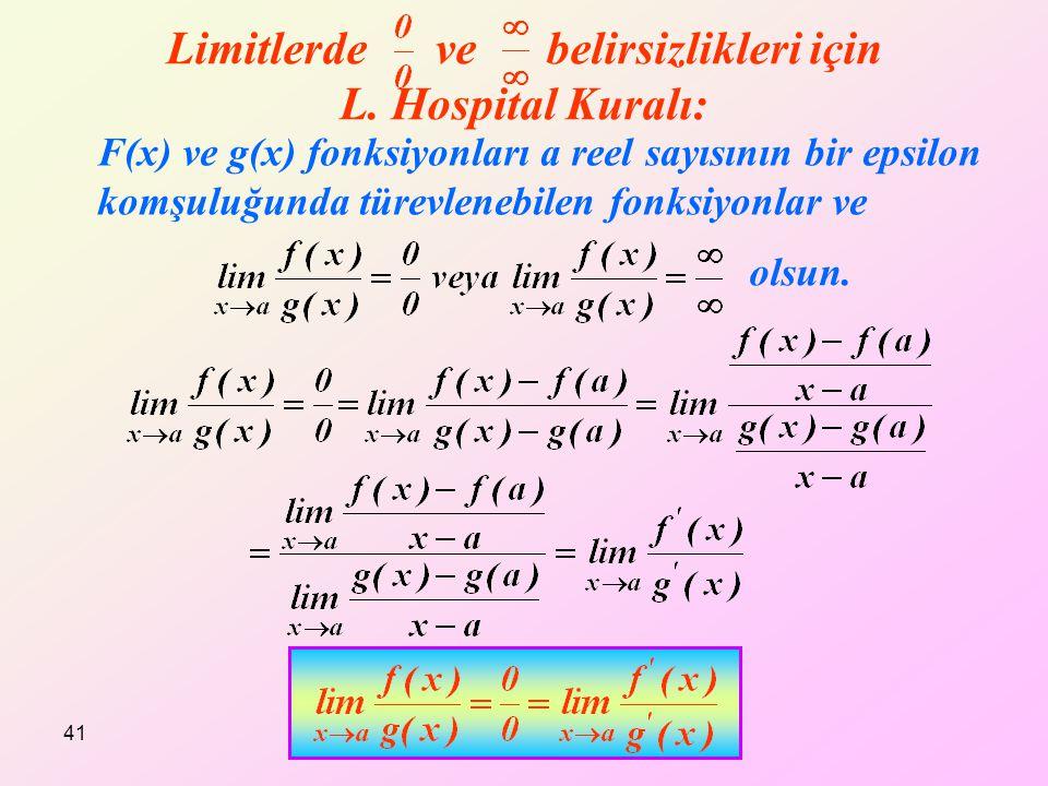 Limitlerde ve belirsizlikleri için L. Hospital Kuralı: F(x) ve g(x) fonksiyonları a reel sayısının bir epsilon komşuluğunda türevlenebilen fonksiyonla