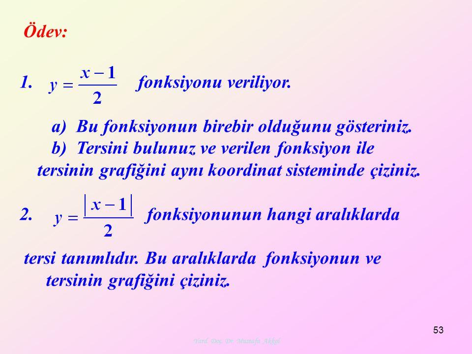 Ödev: 1. fonksiyonu veriliyor. a) Bu fonksiyonun birebir olduğunu gösteriniz. b) Tersini bulunuz ve verilen fonksiyon ile tersinin grafiğini aynı koor