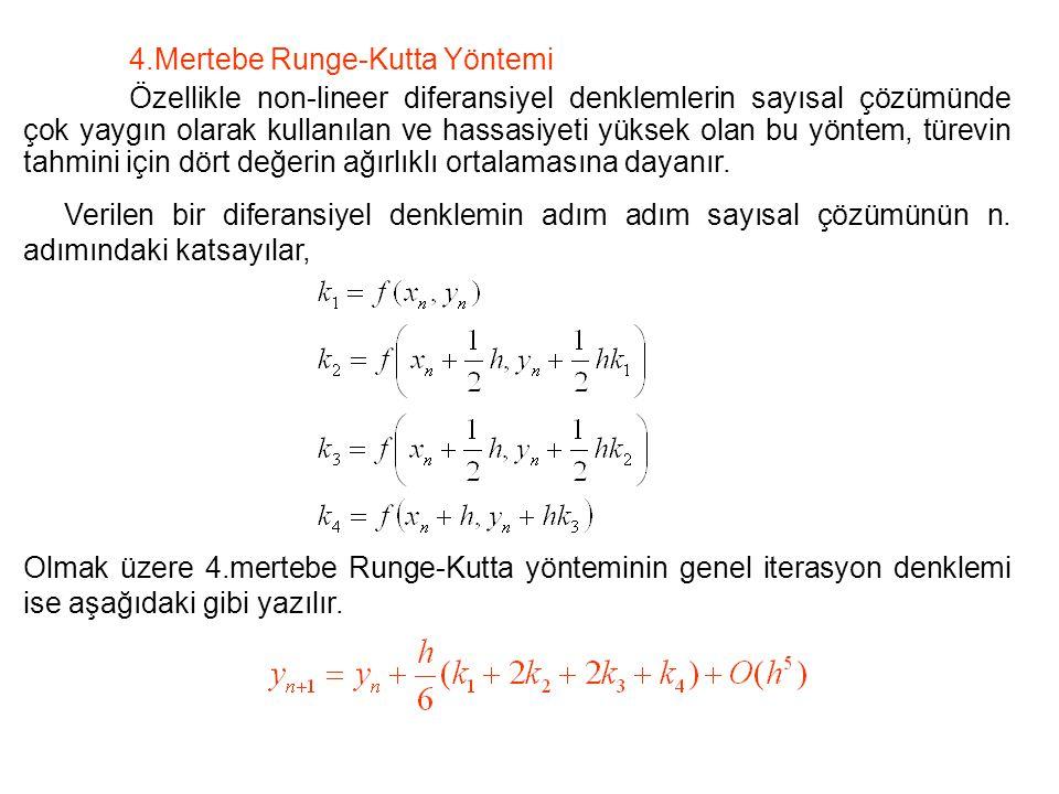4.Mertebe Runge-Kutta Yöntemi Özellikle non-lineer diferansiyel denklemlerin sayısal çözümünde çok yaygın olarak kullanılan ve hassasiyeti yüksek olan