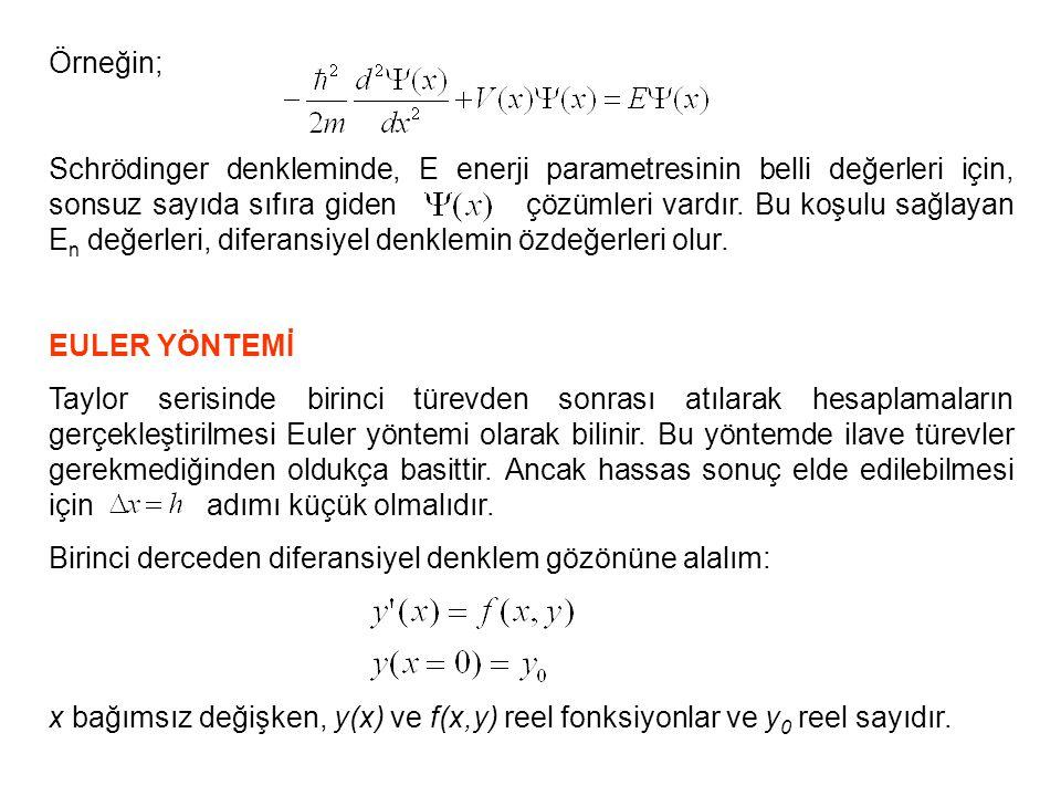 Bu denklemin çözümünden şunu anlıyoruz: Eşit h adım uzunluklarıyla sıralanmış x 1,x 2,x 3,….,x n noktalarında fonksiyonun aldığı y 1,y 2,y 3,… değerlerini bulmak iştiyoruz.