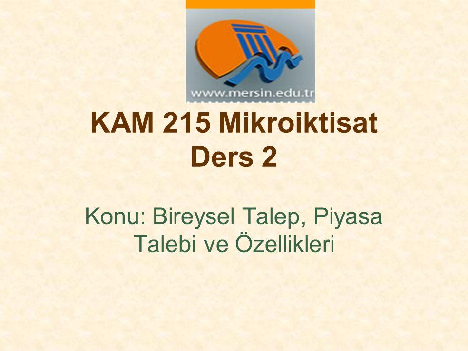 KAM 215 Mikroiktisat Ders 2 Konu: Bireysel Talep, Piyasa Talebi ve Özellikleri