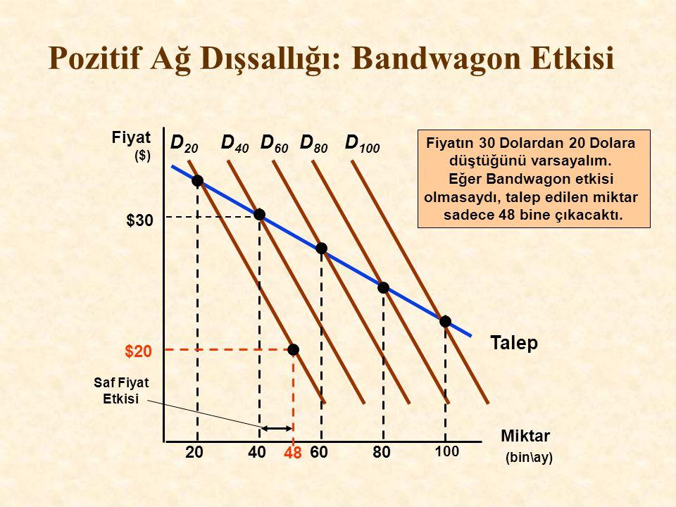 Talep Pozitif Ağ Dışsallığı: Bandwagon Etkisi Miktar (bin\ay) Fiyat ($) D 20 20406080 100 D 40 D 60 D 80 D 100 Saf Fiyat Etkisi 48 Fiyatın 30 Dolardan