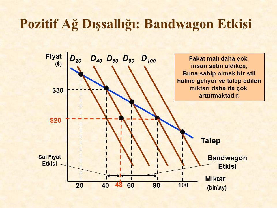 Talep Pozitif Ağ Dışsallığı: Bandwagon Etkisi Miktar (bin\ay) Fiyat ($) D 20 20406080 100 D 40 D 60 D 80 D 100 Saf Fiyat Etkisi $20 48 Bandwagon Etkis