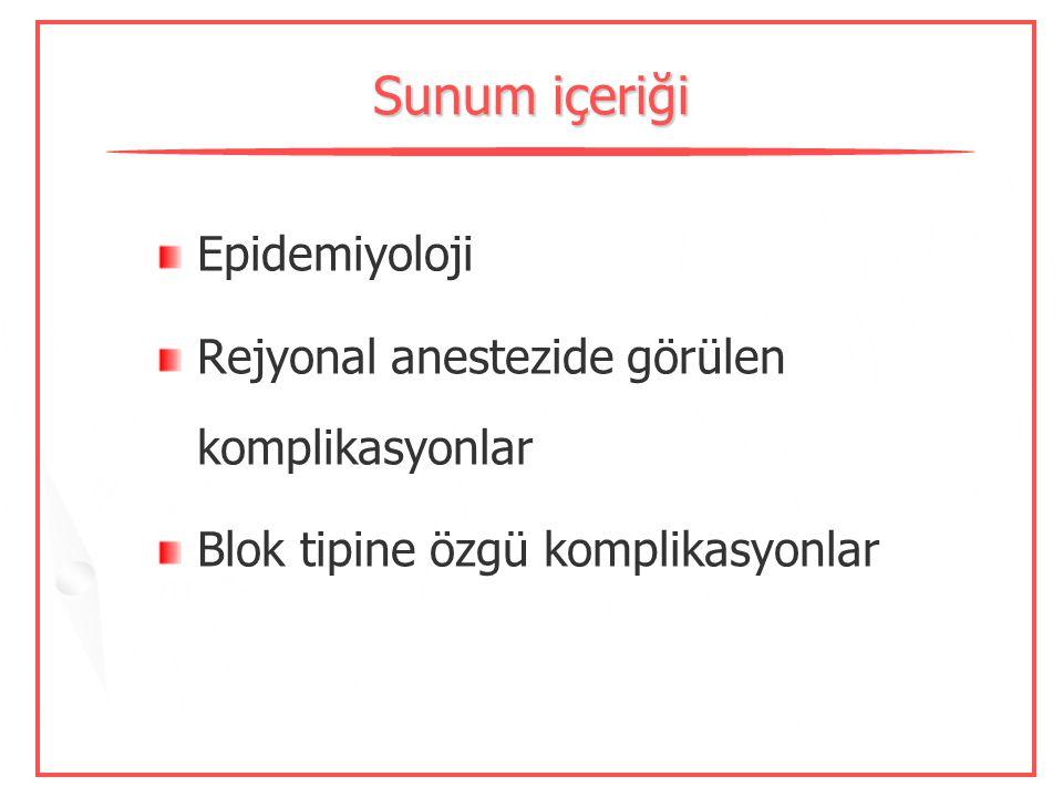 Pediyatrik rejyonal anestezide komplikasyonlar Dr. Sibel Barış Ondokuz Mayıs Üniversitesi 10.Ulusal Rejyonal Anestezi Kongresi, 2009-İstanbul
