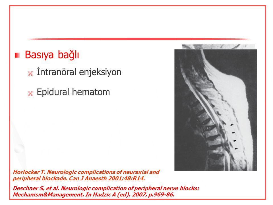 Nöral iskemi Kan akımında azalma veya bozukluk  Epinefrinli lokal anestezikler  Turnike kullanımı  Hipotansiyon Horlocker T. Neurologic complicatio