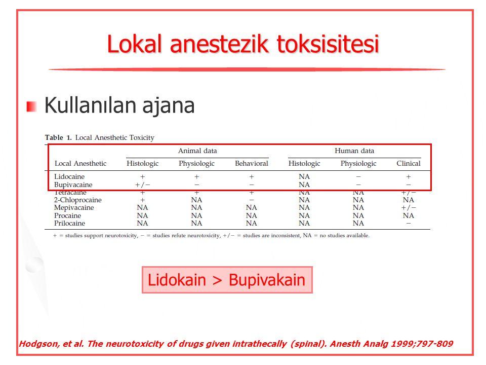 Lokal anestezik toksisitesi Yapıldığı yere Konsantrasyonuna Karşılaşma süresine-infüzyon Kullanılan ajana Spinal anestezide risk  Deschner S, et al.